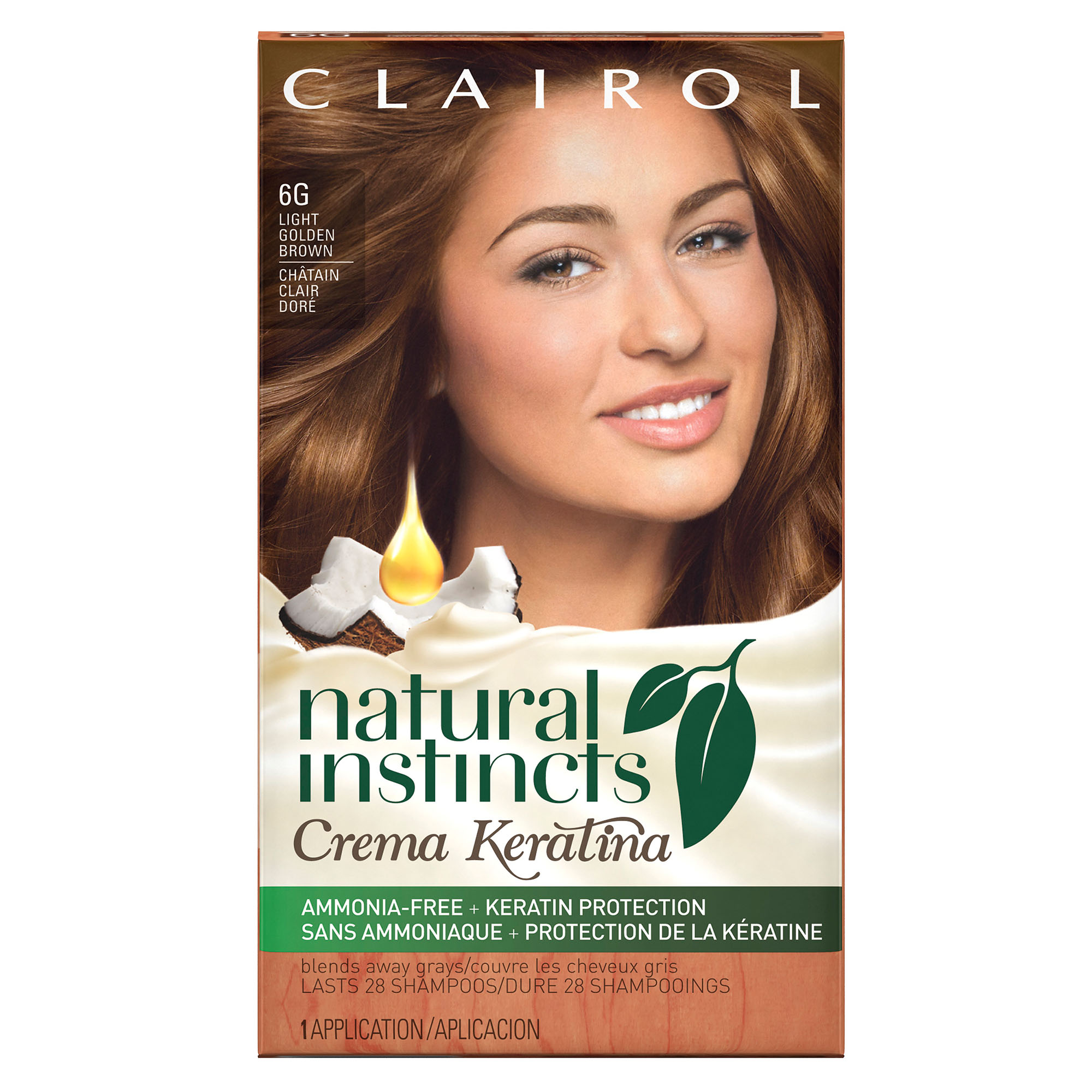 Clairol Natural Instincts Crema Keratina Hair Color, 6G Light Golden Brown/ Caramel Crème