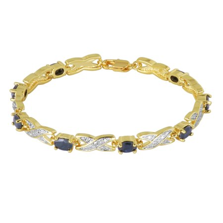 14k Yellow Gold Over Bronze Created Blue Sapphire and Diamond Accent Bracelet, 7.25