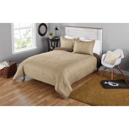 Mainstays Seersucker King Solid Reversible Mini Comforter Set, 3 Piece