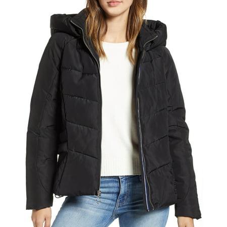 Marc York Womens Jacket Medium Puffer Full Zip Hooded M Marc New York Black Jacket