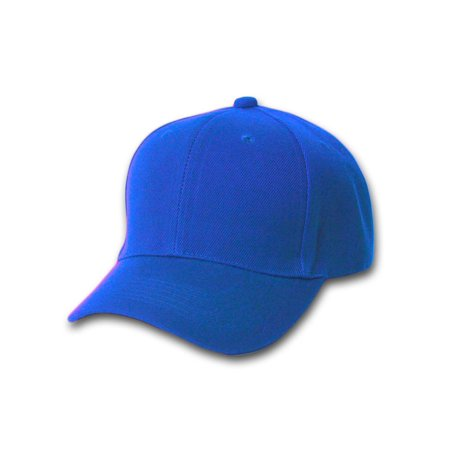 Plain Fitted Curve Bill Hat, Royal Blue 7 5/8 ()