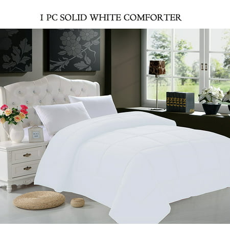 Elegant Comfort  Goose Down Alternative 1pc SOLID WHITE Comforter - Available In A Few Sizes And Colors , King/Cal King, White