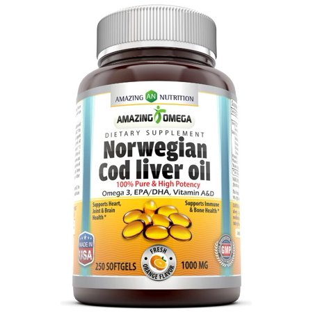 Amazing Omega Norwegian Cod Liver Oil 1000 Mg 250 Softgels Fresh (Fermented Cod Liver Oil Butter Oil Benefits)