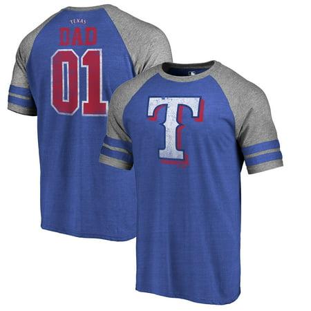 Texas Rangers Fanatics Branded 2019 Father's Day Greatest Dad Two Stripe Raglan Tri-Blend T-Shirt -