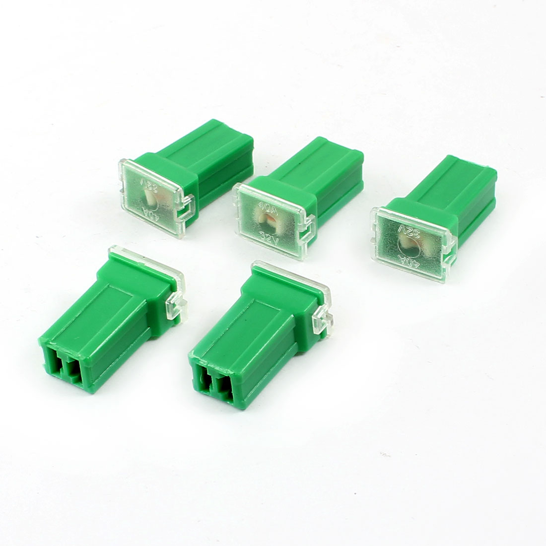 Unique Bargains Green 40A 32V Plastic Case Female Plug in  Cartridge PAL Fuse 5 Pcs