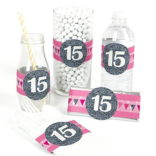Quinceanera Pink - Sweet 15 - DIY Party Wrapper Favors - Set of 15