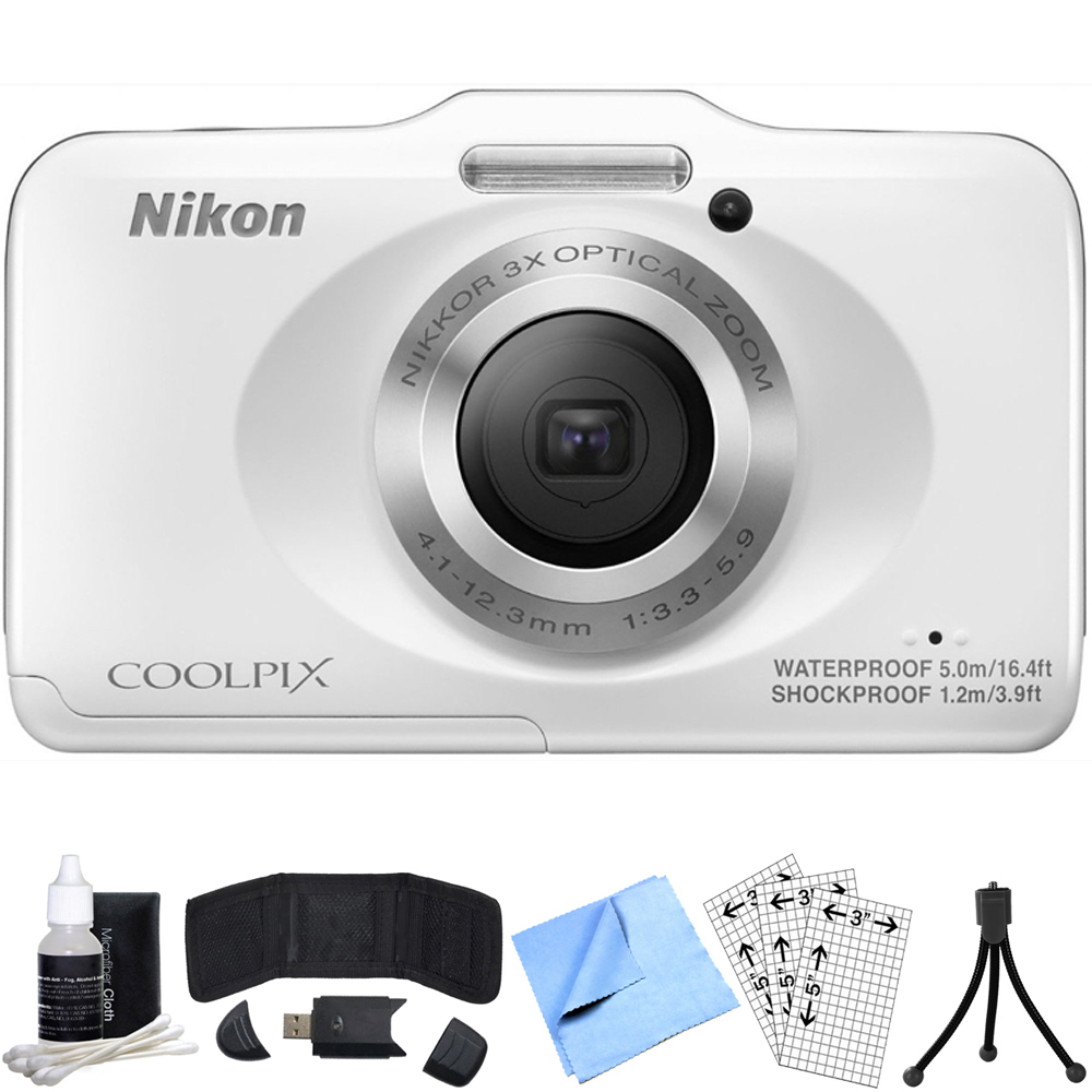Nikon COOLPIX S31 10.1MP Digital Camera (White) Refurbished Bundle includes COOLPIX S31, Card Reader, Mini Tripod, Screen Protectors, Cleaning Kit, Memory Card Wallet and Beach Camera Cloth