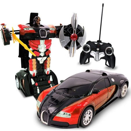 RC Toy Transforming Robot Remote Control Sports Car 1/22 Scale (red) (Robot Poli)