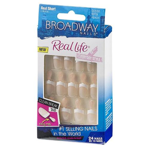 Broadway Nails Real Life Glue-On Nail Kit, Real Short Length, Peach 24 ea (Pack of 2)