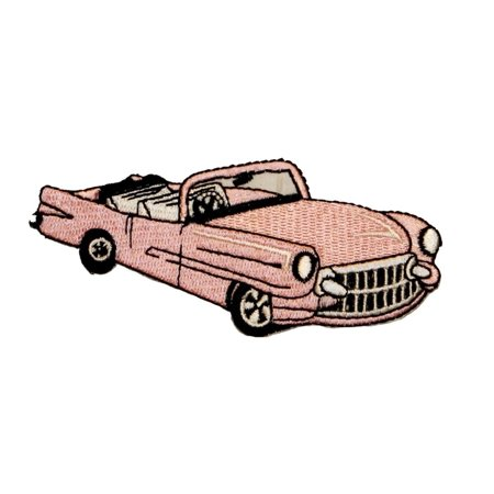 Cadillac Classic Car (ID 0144 Pink Cadillac Car Patch Classic 50's Embroidered Iron On)