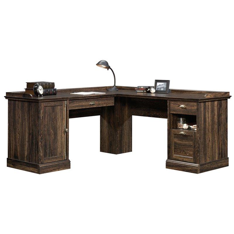Sauder Barrister Lane L Shaped Computer Desk In Iron Oak