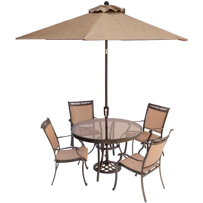 Fontana Dining Set with Glass-Top Table, Umbrella & Base - 5 Piece