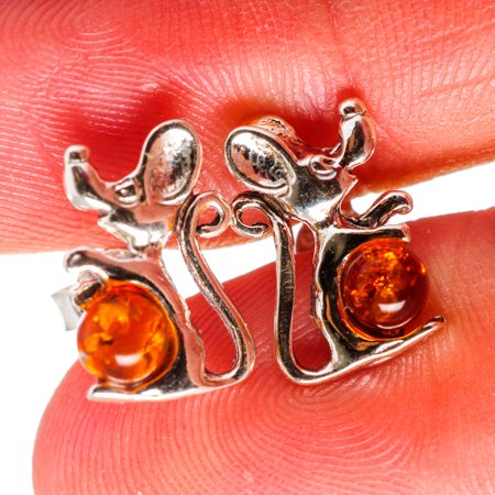 Handmade Silver Lampwork Earrings - Genuine Baltic Amber Mouse Earrings 1/2