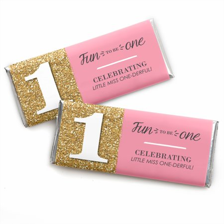Fun to be One - 1st Birthday Girl - Candy Bar Wrappers Party Favors - Set of 24