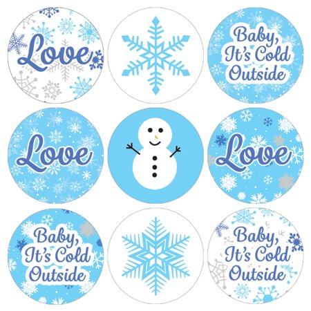 Winter Wonderland Party Stickers, 216ct - Blue Snowflake Winter Wonderland Decorations Snowman Party Supplies for Baby Its Cold Outside Baby Shower or Bridal Shower - 216 Count Stickers