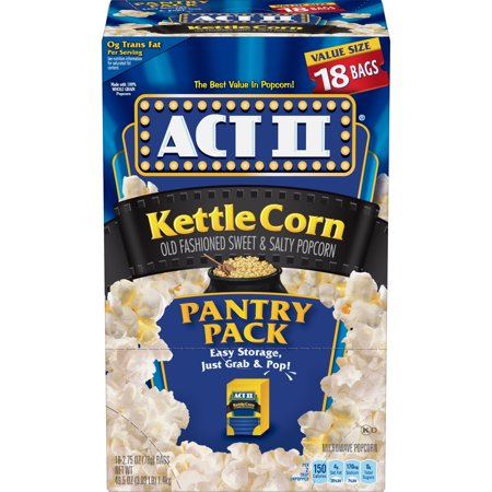 Act II Kettle Corn Microwave Popcorn, 18 Bags, 2.75 Oz each (Kettle Corn Popcorn Low Fat)