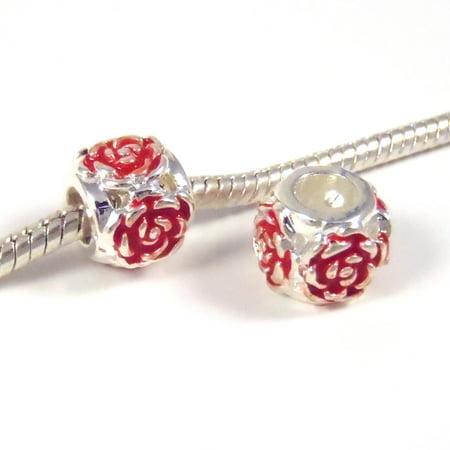 3 Beads - Bright Red Rose Flower Enamel Silver European Bead Charm E0827