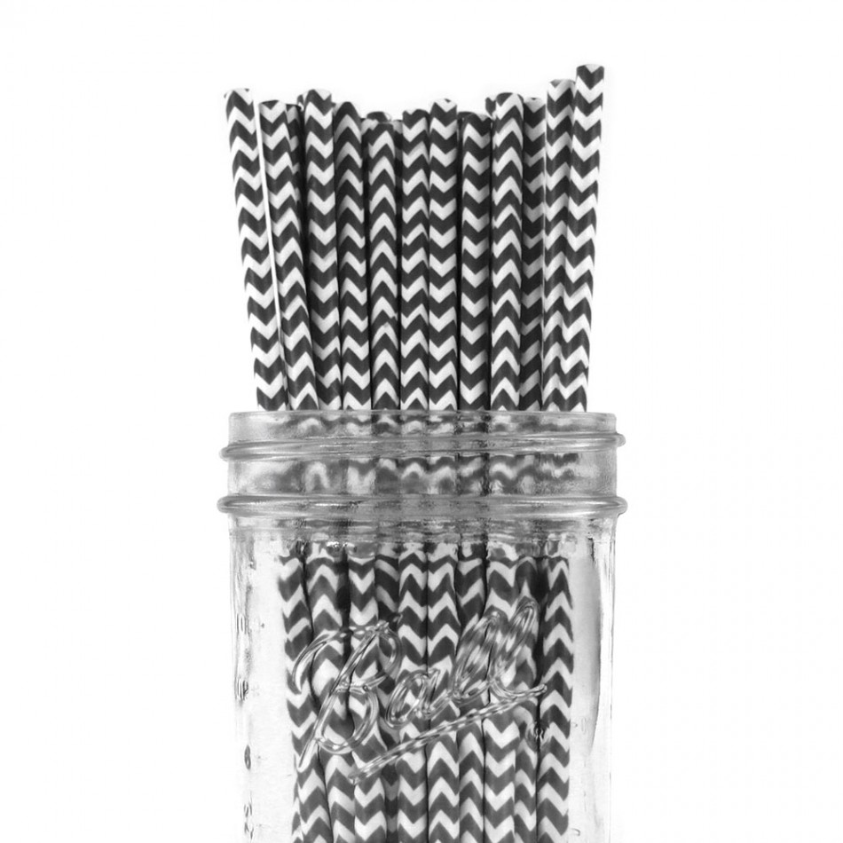 Dress My Cupcake 25-Pack Vintage Paper Straws, Black Chevron