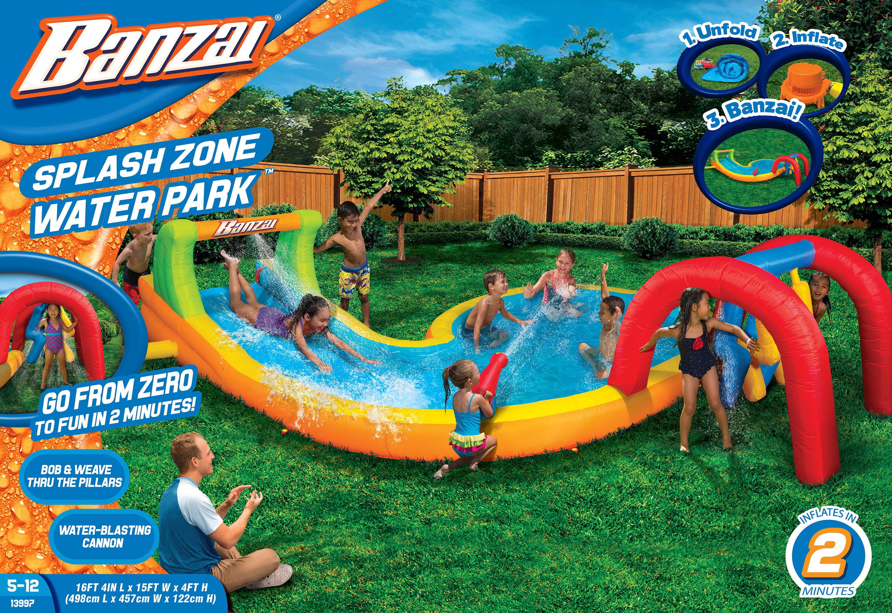 Banzai Water Park Splash Zone (Inflatable Waterslide Summer Backyard Splash Pool Aqua Gun Blaster Cannons) by Banzai