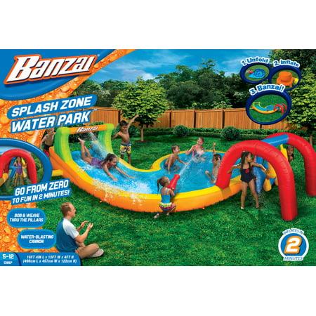 Banzai Water Park Splash Zone (Inflatable Water Slide Summer Backyard Splash Pool Aqua Gun Blaster Cannons)