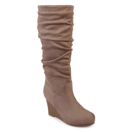 Women's Wide Calf Slouchy Faux Suede Mid-calf Wedge Boots - Faux Suede Wedge Boot