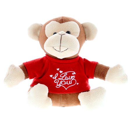 Dollibu Brown Monkey I Love You Valentines Stuffed Animal - Red Message Tshirt - 6 inch - Super Soft Plush - Item