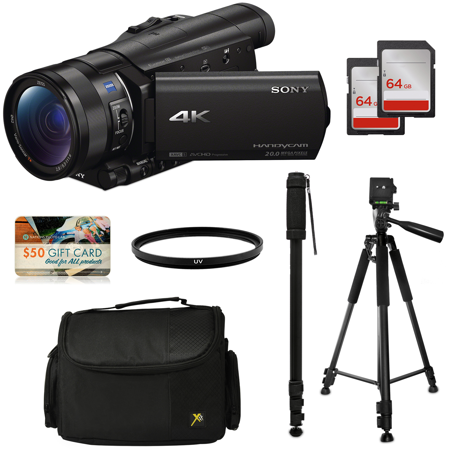Sony FDR-AX100 4K Ultra HD Camcorder Video Camera Kit, 128GB Memory + Tripod + Monopod + Bag + UV Filter by 47th Street Photo