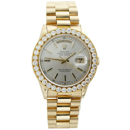Mens 18K Yellow Gold Diamond Watch 36mm Rolex President Day-Date 18038 3.75 - Gold Rolex Replica