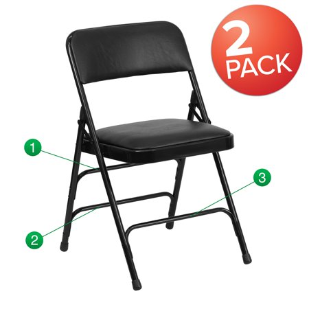 "Set of 2 Black Curved Triple Braced & Double Hinged Vinyl Metal Folding Chair 30"" Double Braced Saddle"