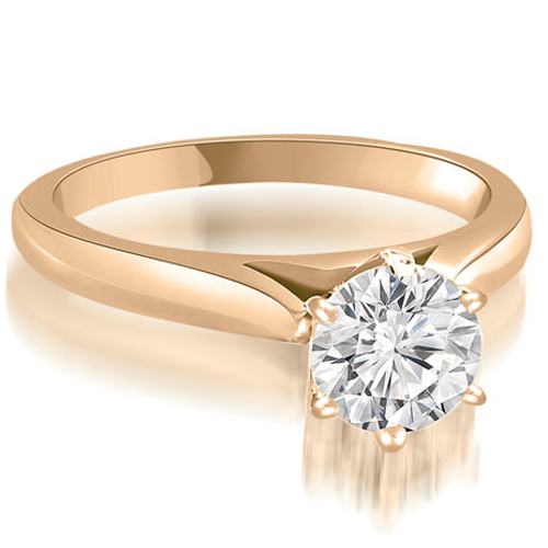 """0.50 cttw. 14K Rose Gold Cathedral 6-Prong Round Cut Diamond Engagement Ring (I1, H-I)"""