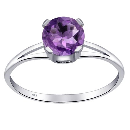 Orchid Jewelry 0.8 Carat Genuine Amethyst 925 Sterling Silver Solitaire Ring Size -7