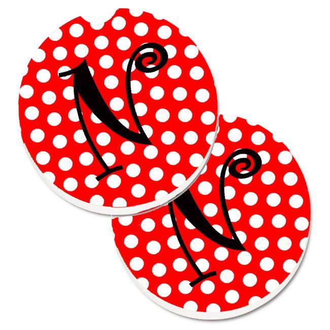 Letter N Initial Monogram Red & Black Polka Dots Set of 2 Cup Holder Car Coaster - image 1 of 1
