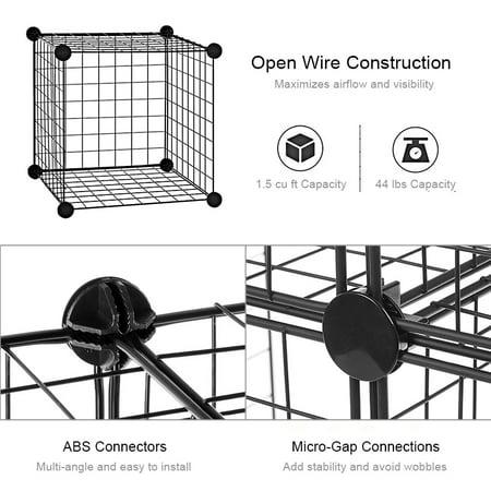 SortWise Multi Use DIY 4 Cube Grid Wire Storage Shelves, Cube Closet Organizer Bookcase Bookshelf Stackable Storage -Black - image 6 of 6