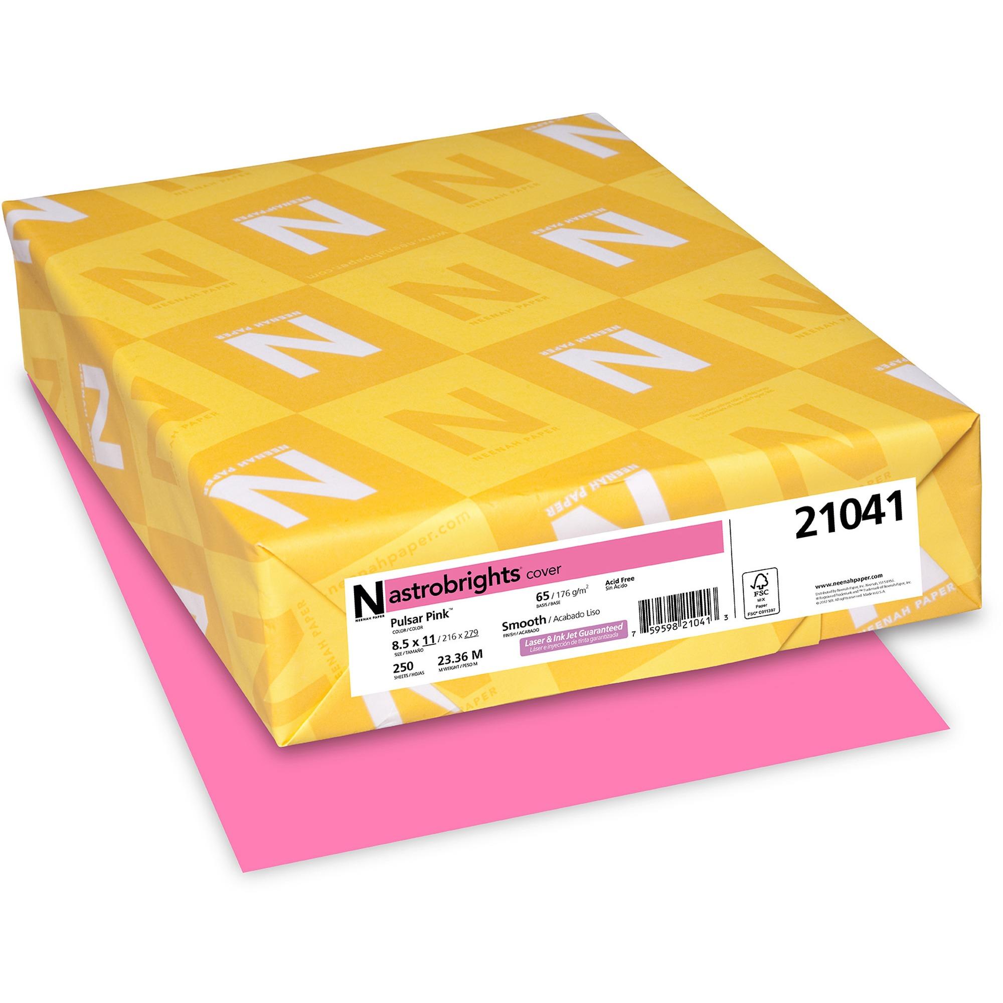 "Astrobrights Color Cardstock, Pulsar Pink, 8.5"" X 11"", 250 Count"