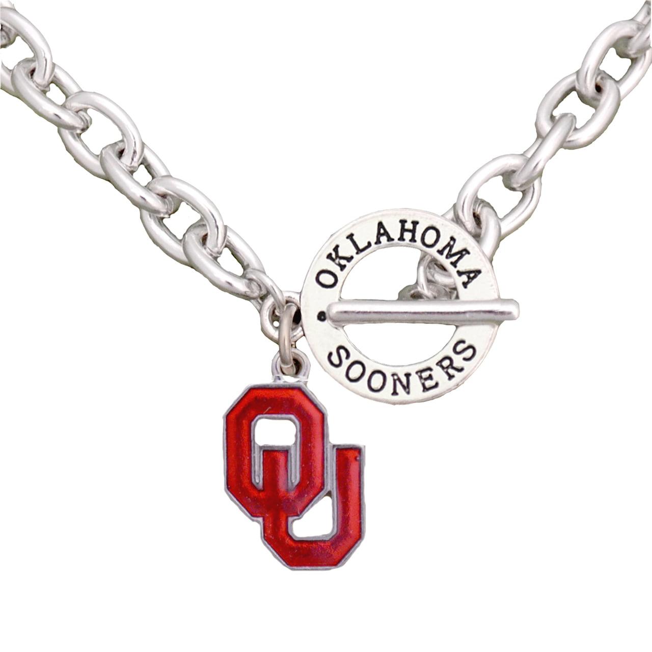 oklahoma sooners team name silver toggle enamel charm