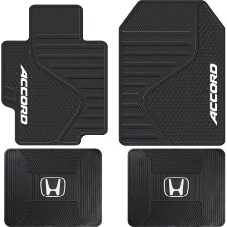 4 Piece Honda Accord Logo Black ALL Weather Heavy Duty Rubber Front & Rear Floor Mats Universal Car