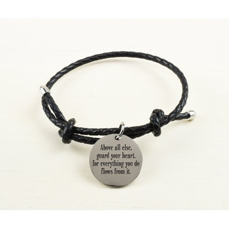 Braided Silver Inspirational Leather Bracelet - Best