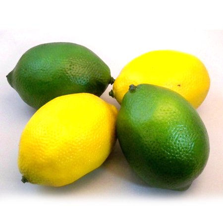 2pcs Yellow & 2pcs Green Artificial Fake Lemons Limes Fruit Theater Props Home Party Decorations