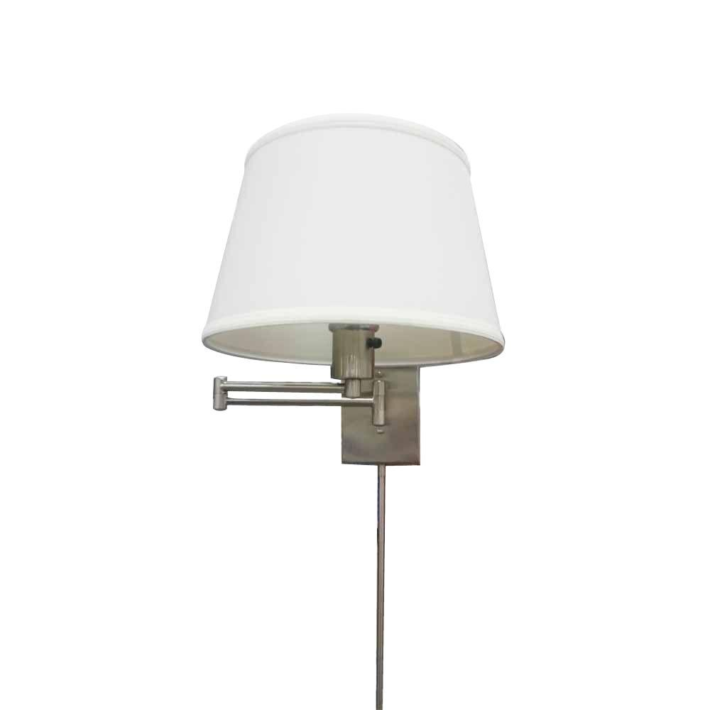 Hampton Bay 1-Light Brushed Nickel Swing Arm Sconce with Fabric Shade (Store Return) by Hampton Bay