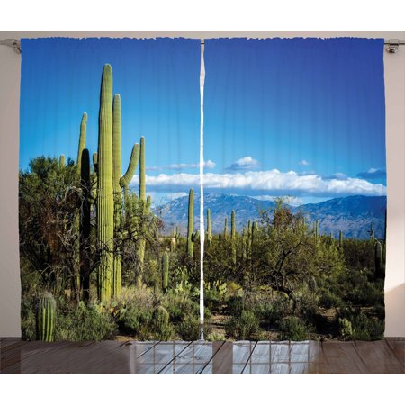 Desert Curtains 2 Panels Set, Wide View of the Tucson Countryside with Cacti Rural Wild Landscape Arizona Phoenix, Window Drapes for Living Room Bedroom, 108W X 84L Inches, Green Blue, - Tucson Panel