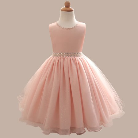 Kids Girl Beaded Dress Princess Formal Pageant Holiday Wedding Bridesmaid Dress 2019