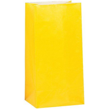 (3 Pack) Paper Luminary & Party Bags, 10 x 5 in, Yellow, - Luminary Bag