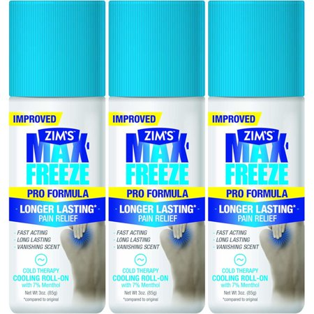 3 Pack Zim's Max-Freeze Pain Relief Grease-less Roll-On Gel 3 Oz. Each (To Less Pain)