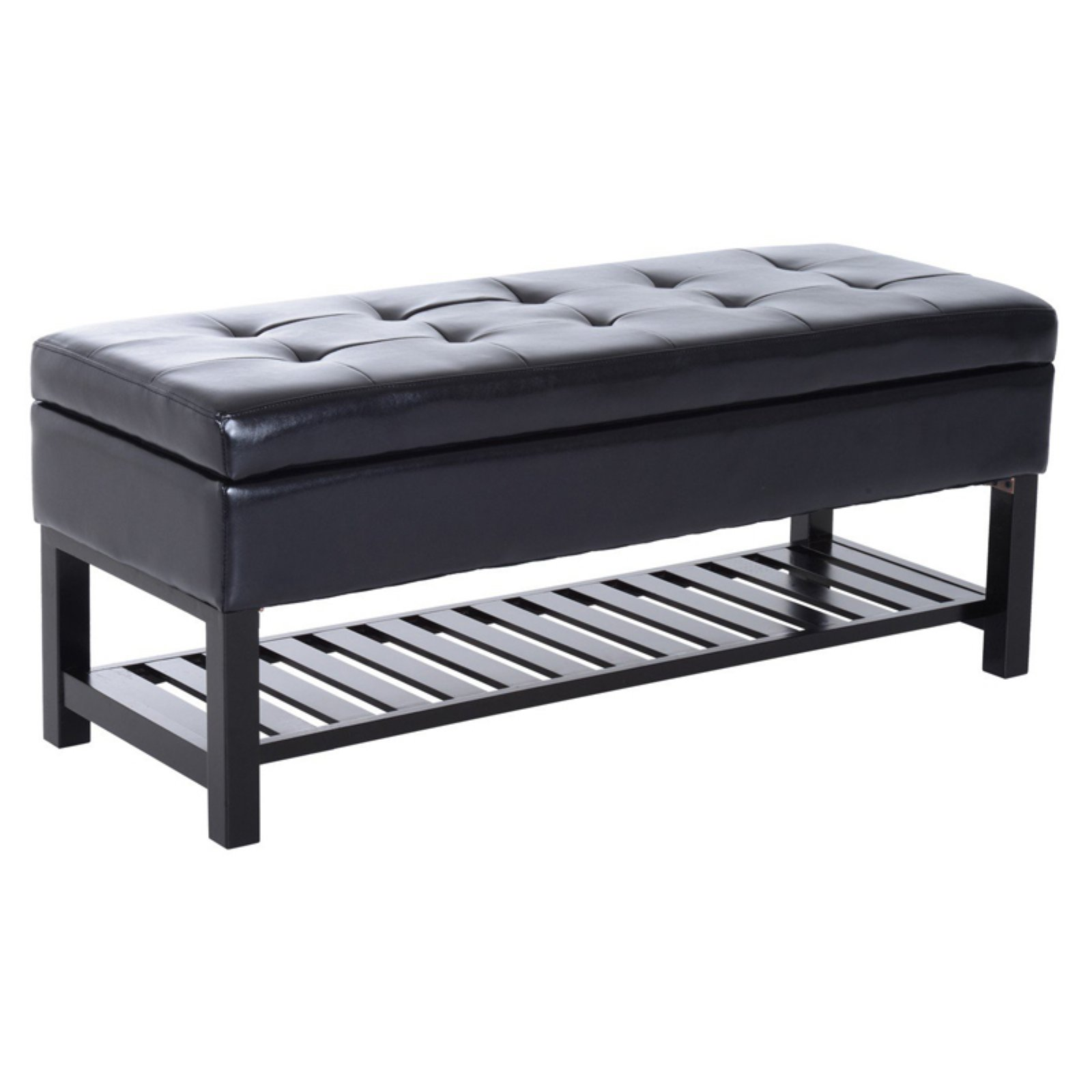 HomCom Faux Leather Tufted Shoe Rack Storage Bench
