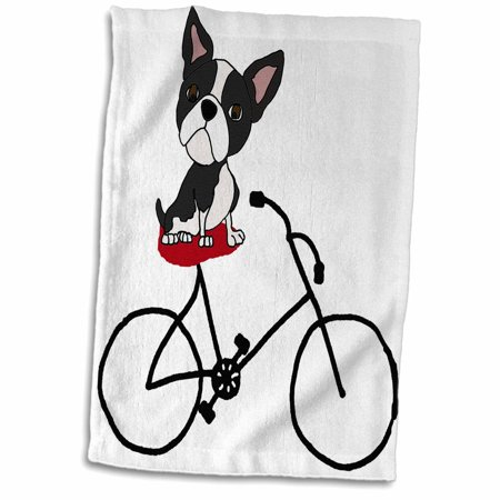 3dRose Funny Cute Boston Terrier Puppy Dog Riding Bicycle - Towel, 15 by 22-inch](Halloween Boston Bike Ride)