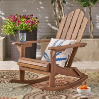 Harlee Outdoor Adirondack Acacia Wood Rocking Chair, Dark Brown