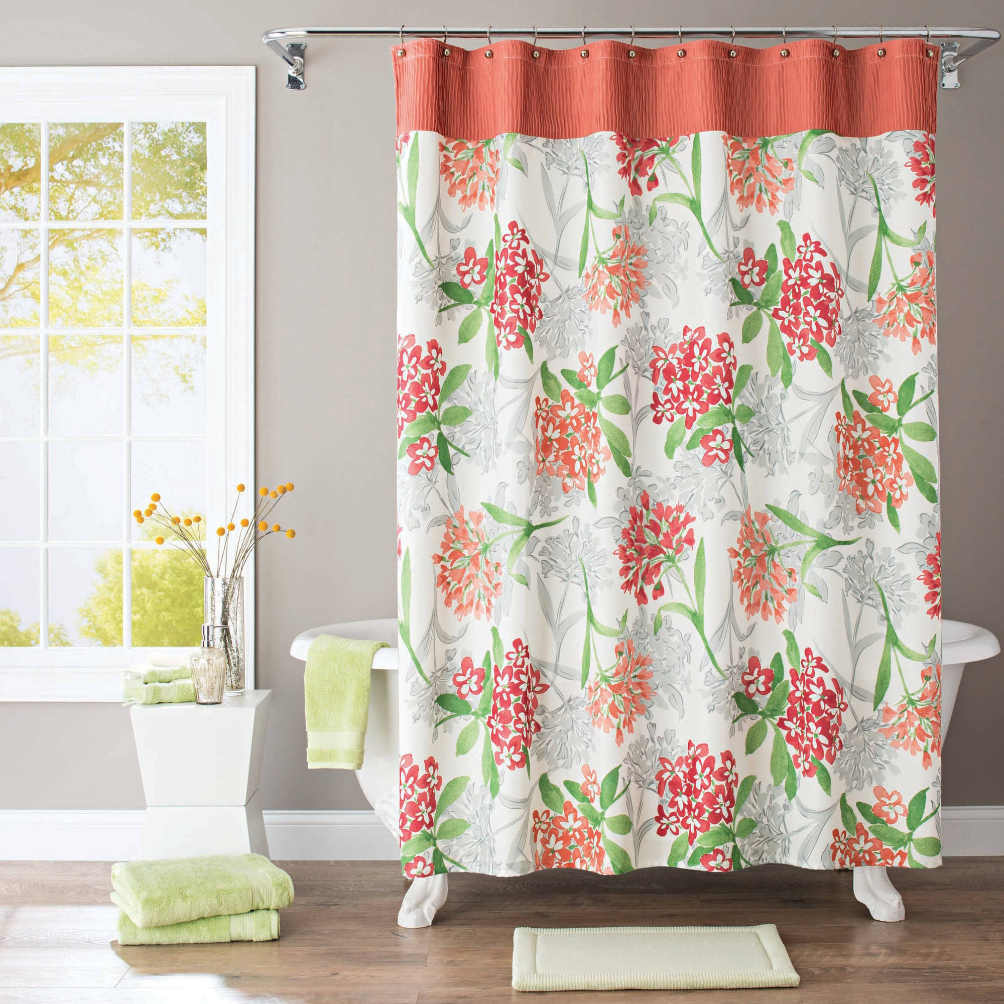 Better Homes and Gardens Watercolor Floral Fabric Shower Curtain ...