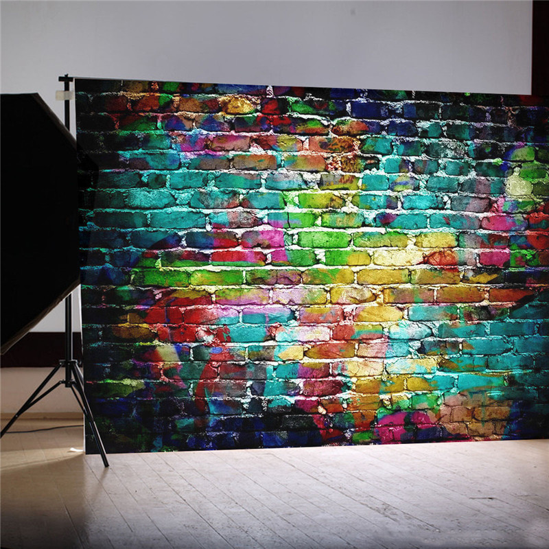 7x5FT/5x7FT Photography Vinyl Backdrop Background Photo Video Studio Props Colorful Brick Wall Wooden Wall Floor