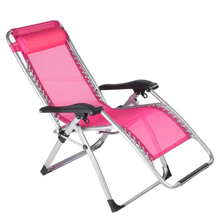 Tebru Lounge Chair Outdoor, Long Beach Folding Lounge Chair Portable Multifunctional Lunch Chair Pink, Folding Beach Lounge Chairs ()
