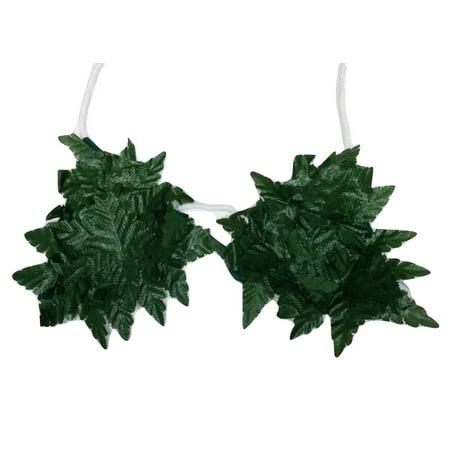 Hawaiian Luau Costumes (Green Leaf Jungle Bikini Top Bra Hawaiian Luau Costume Accessory)